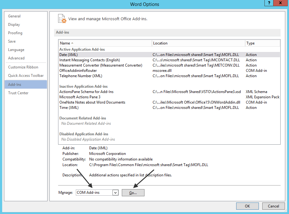 Enabling the infoRouter Office Add-in for various Office tools