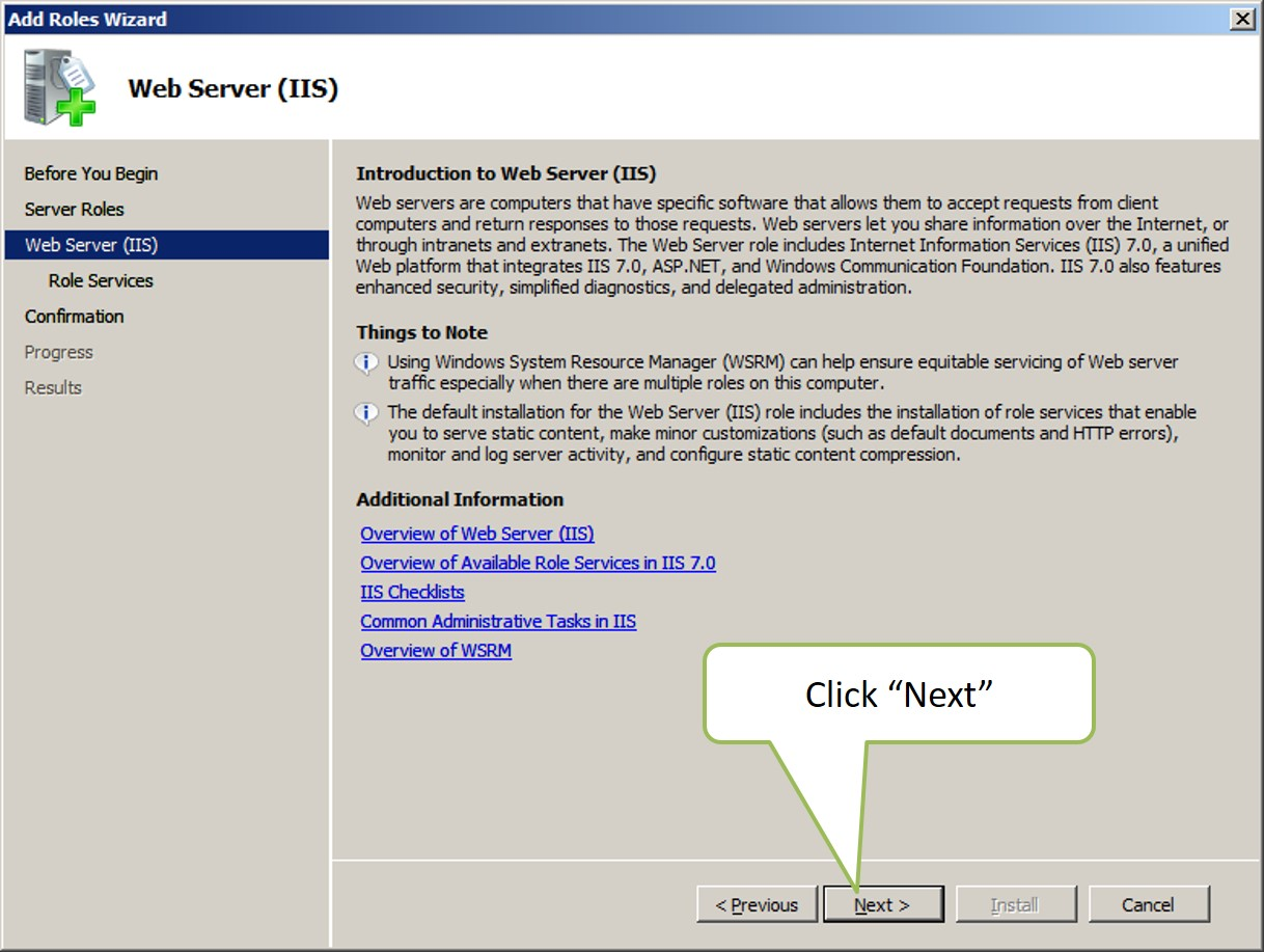 Required features for windows 2008 web edition.